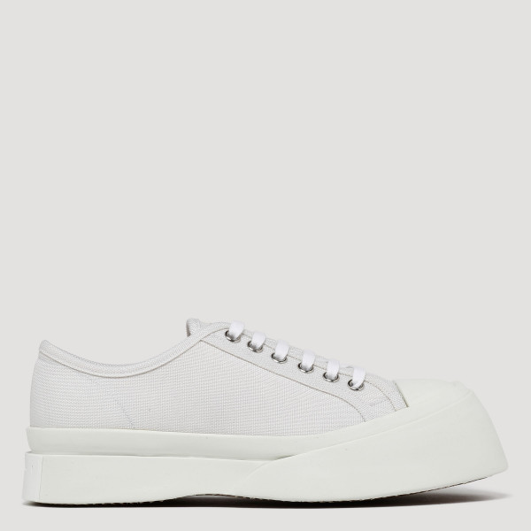 White canvas platform sneakers