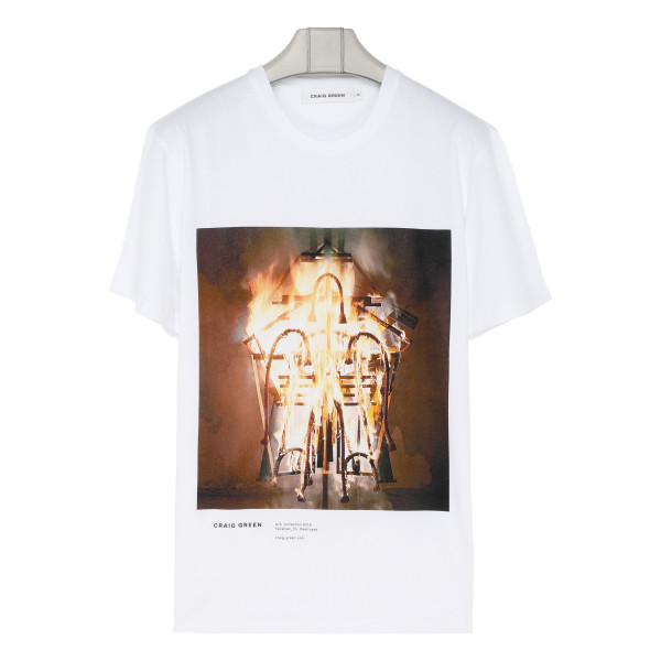 White cotton Destroyed Talisman T-shirt