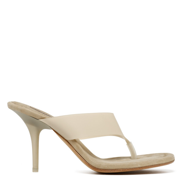 Beige Thong Heel Sandals