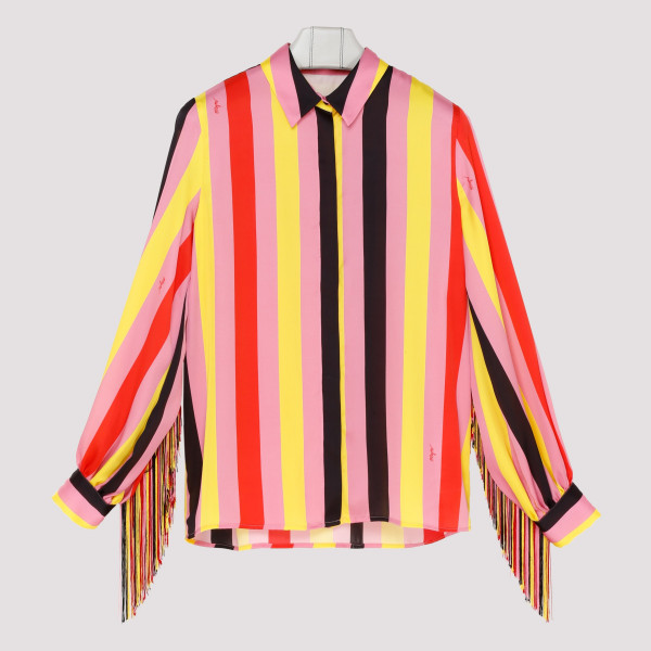 Multicolor striped fringed...
