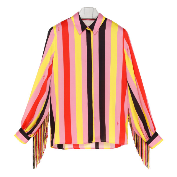 Multicolor striped fringed shirt