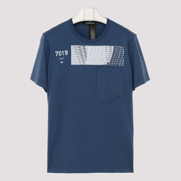 Blue cotton T-shirt with...