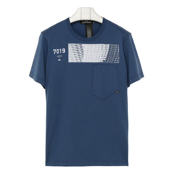 Blue cotton T-shirt with contrasting print