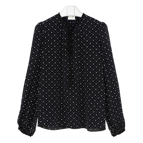 Heart print black blouse