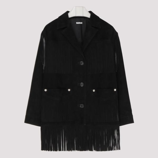 Black suede fringed jacket