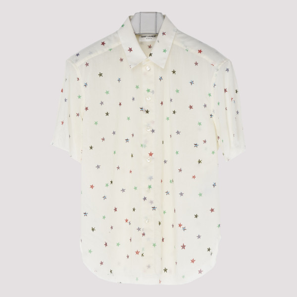 Nude wool shirt with stars...