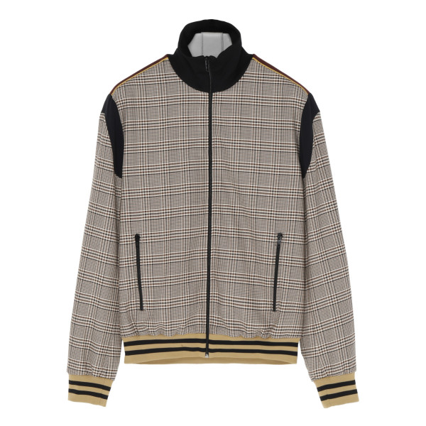 Check wool and cotton bomber jacket