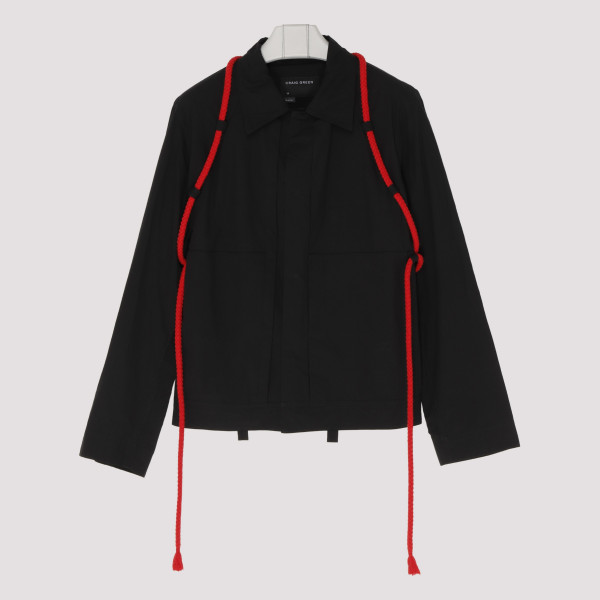 Black worker jacket with red rope
