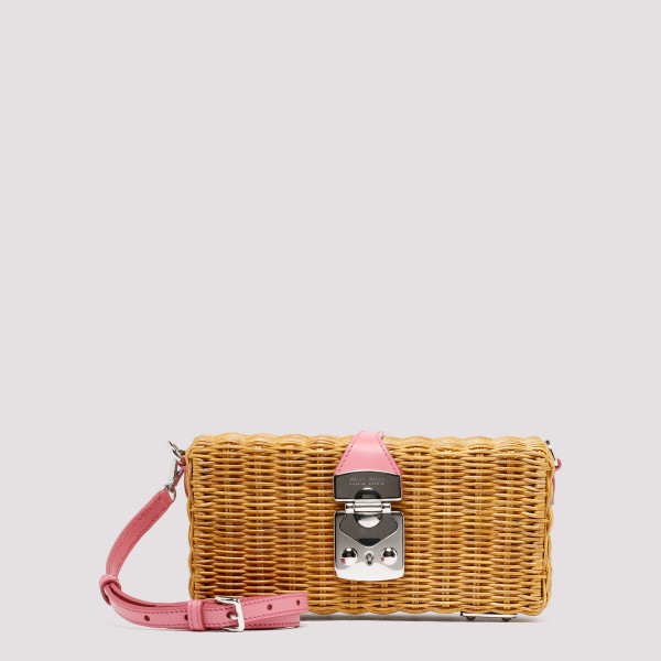 Wicker clutch with pink leather detail