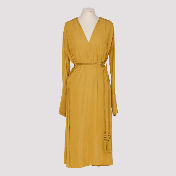 Mid-length gold satin dress