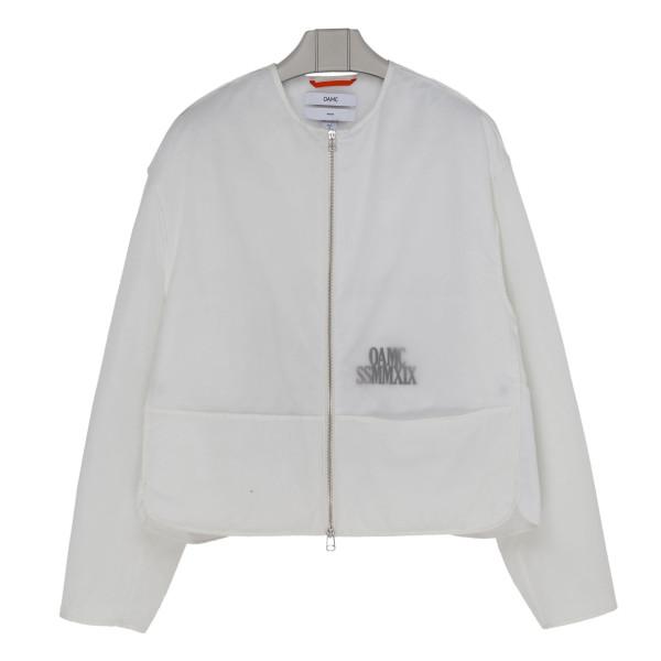 White double nylon jacket with logo