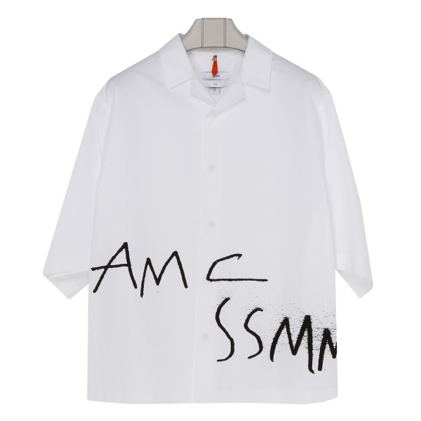 White cotton logo oversize shirt