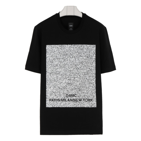 Black cotton 'No signal' T-shirt