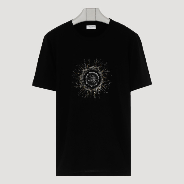 Black cotton T-shirt with logo