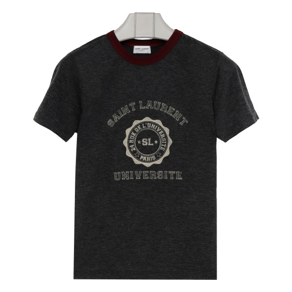 Gray cotton college logo T-shirt