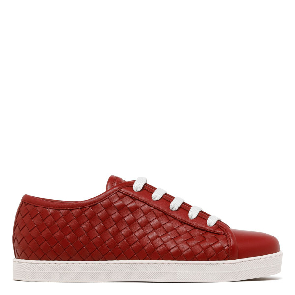 Red intrecciato leather sneakers