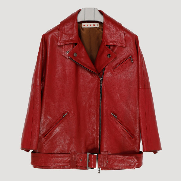 Red leather biker jacket