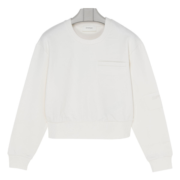 White cotton-blend sweatshirt