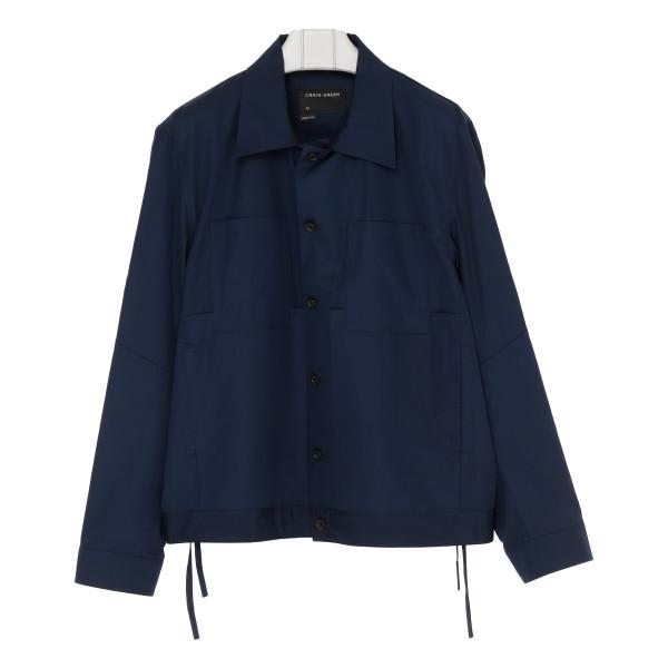 Navy cotton-poplin worker shirt