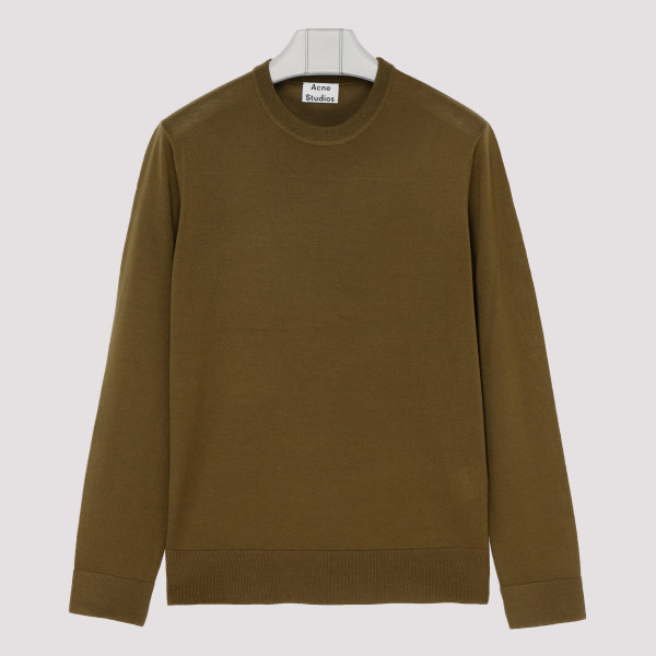 Olive green wool classic sweater