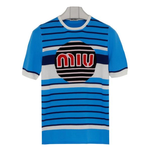 Light blue logo knitted top