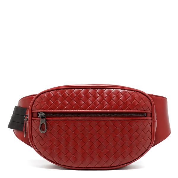 Burgundy intrecciato leather belt bag