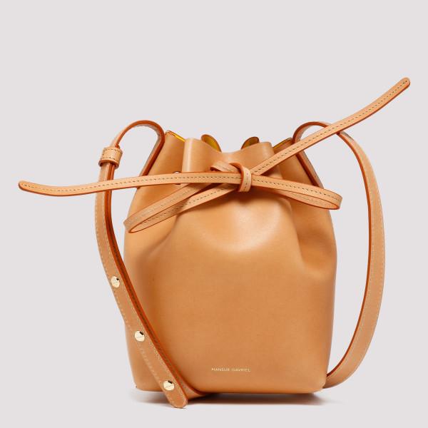 Caramel calf mini bucket bag