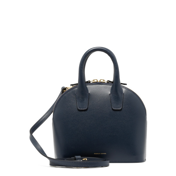 Blue leather mini top handle bag