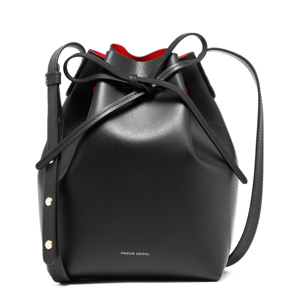 Black and red mini bucket bag