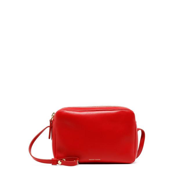Flame red double zip crossbody bag