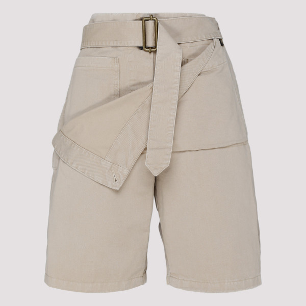 Beige cotton Utility shorts