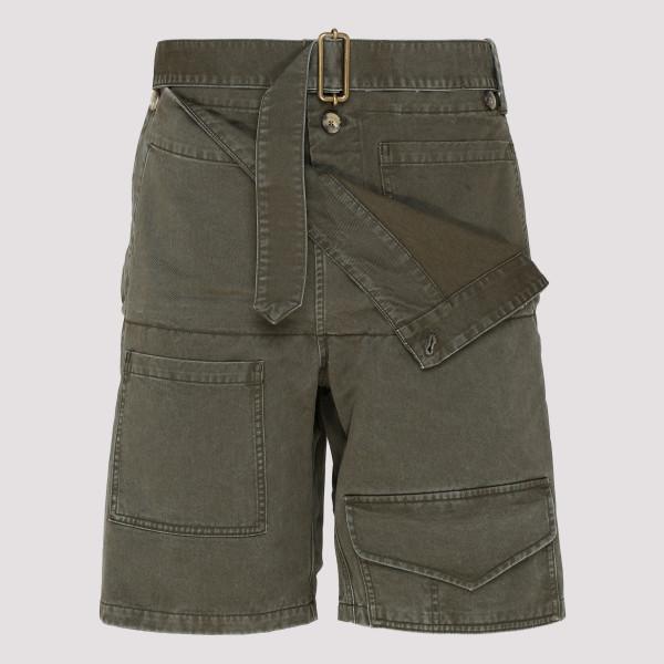 Green denim cotton Utility shorts