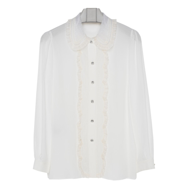 White ruffle trimmed shirt