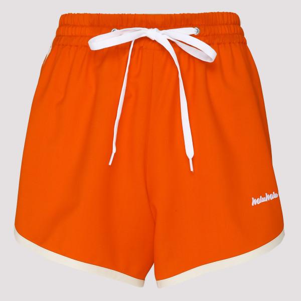 Orange embroidered logo shorts