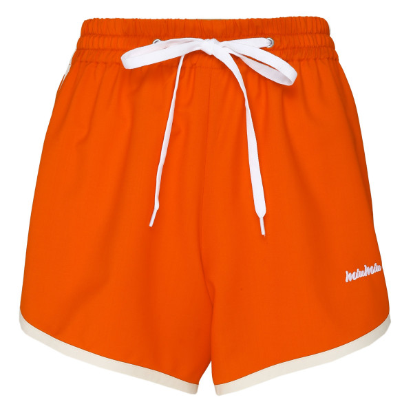Orange embroidered logo shorts