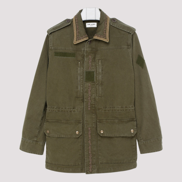 Khaki embroidered parka