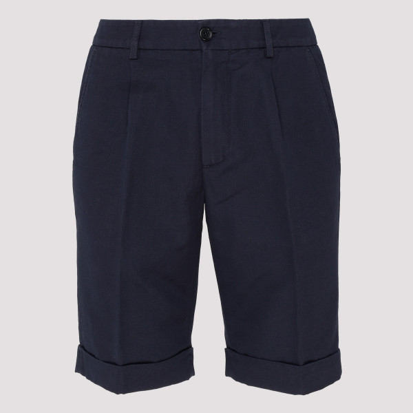 Navy cotton blend chino shorts