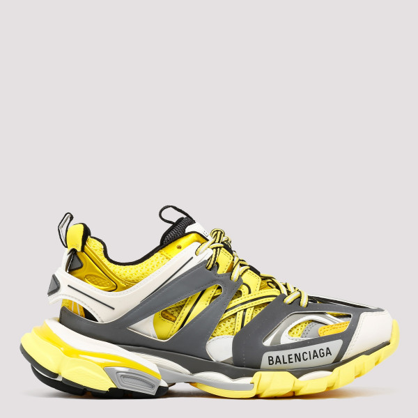 Grey and yellow track trainers
