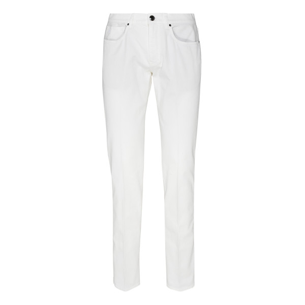 White stretch denim pants