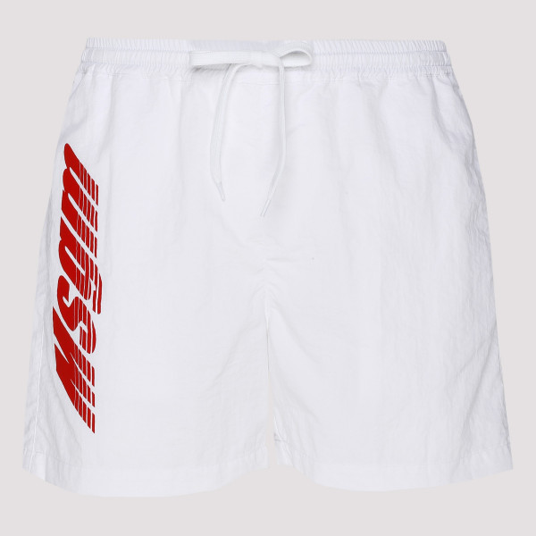 White swim shorts with logo