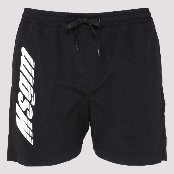Black swim shorts with logo
