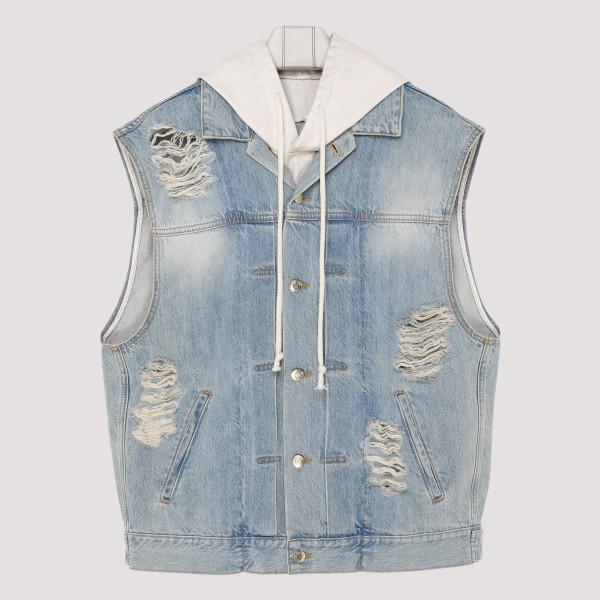 Distressed denim vest
