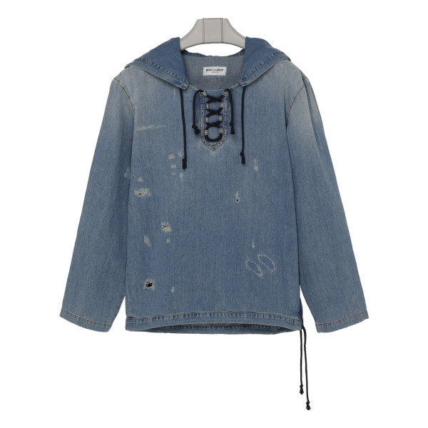 Blue destroyed denim hoodie