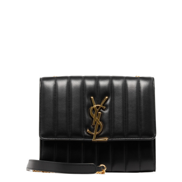 Black matelassé Vicky chain wallet