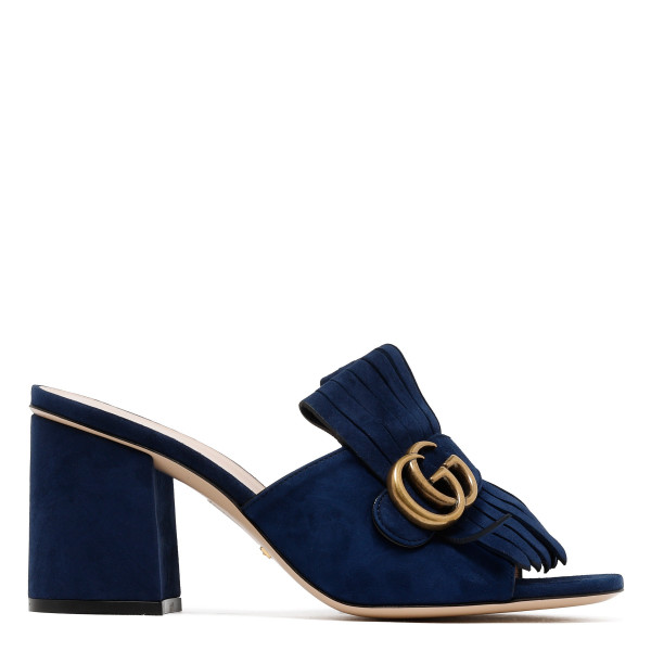 Blue Suede mid-heel slide with Double G