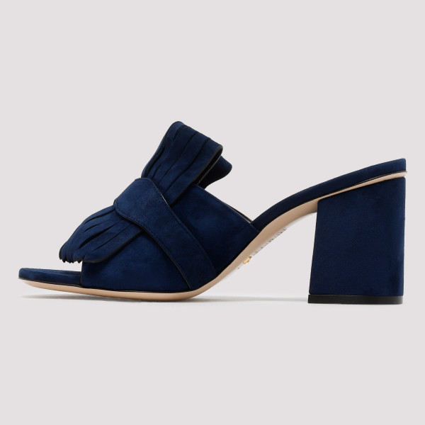 2f38b4d5180 Blue Suede mid-heel slide with Double G