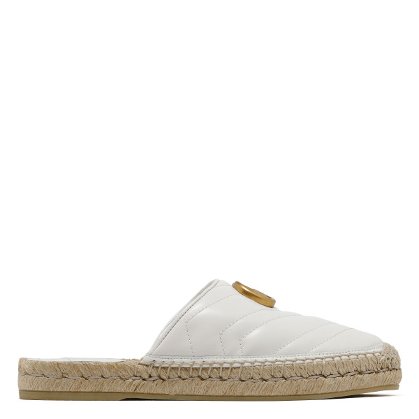 White Leather espadrille with Double G