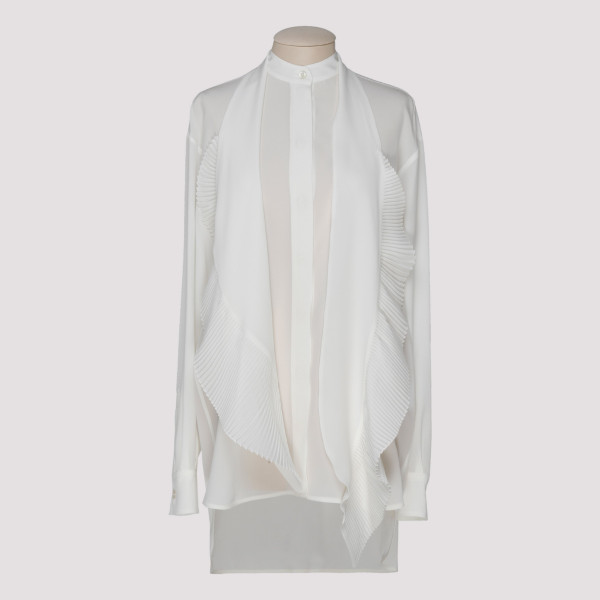 White silk shirt with pleated scarf
