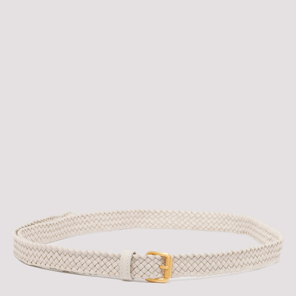 Intrecciato ivory leather belt