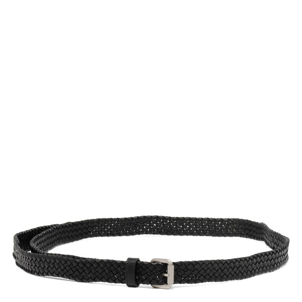 Intrecciato black leather belt